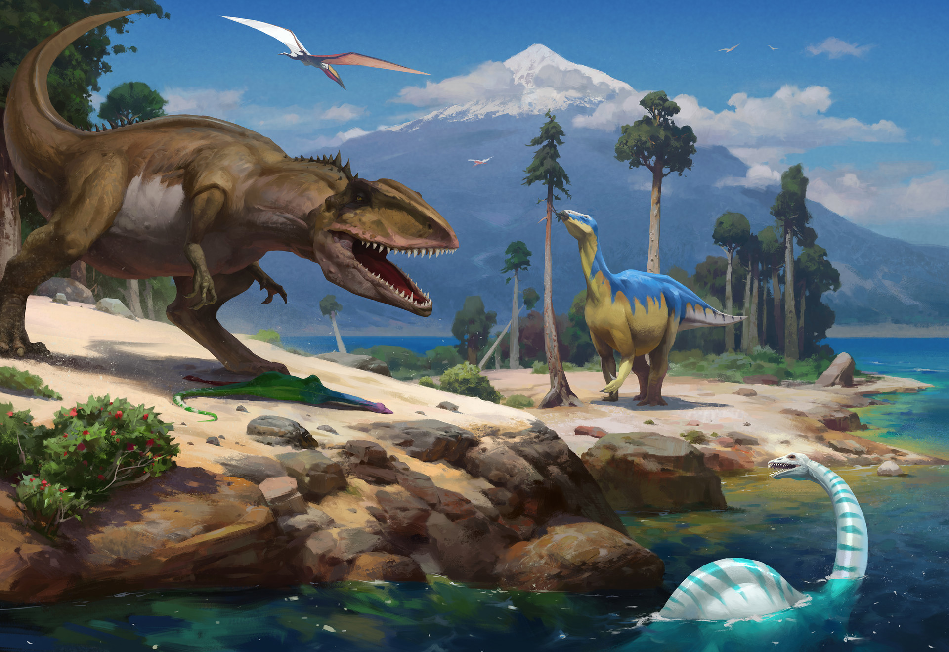 The landscape of the Cretaceous period. by Nikolai Litvinenko