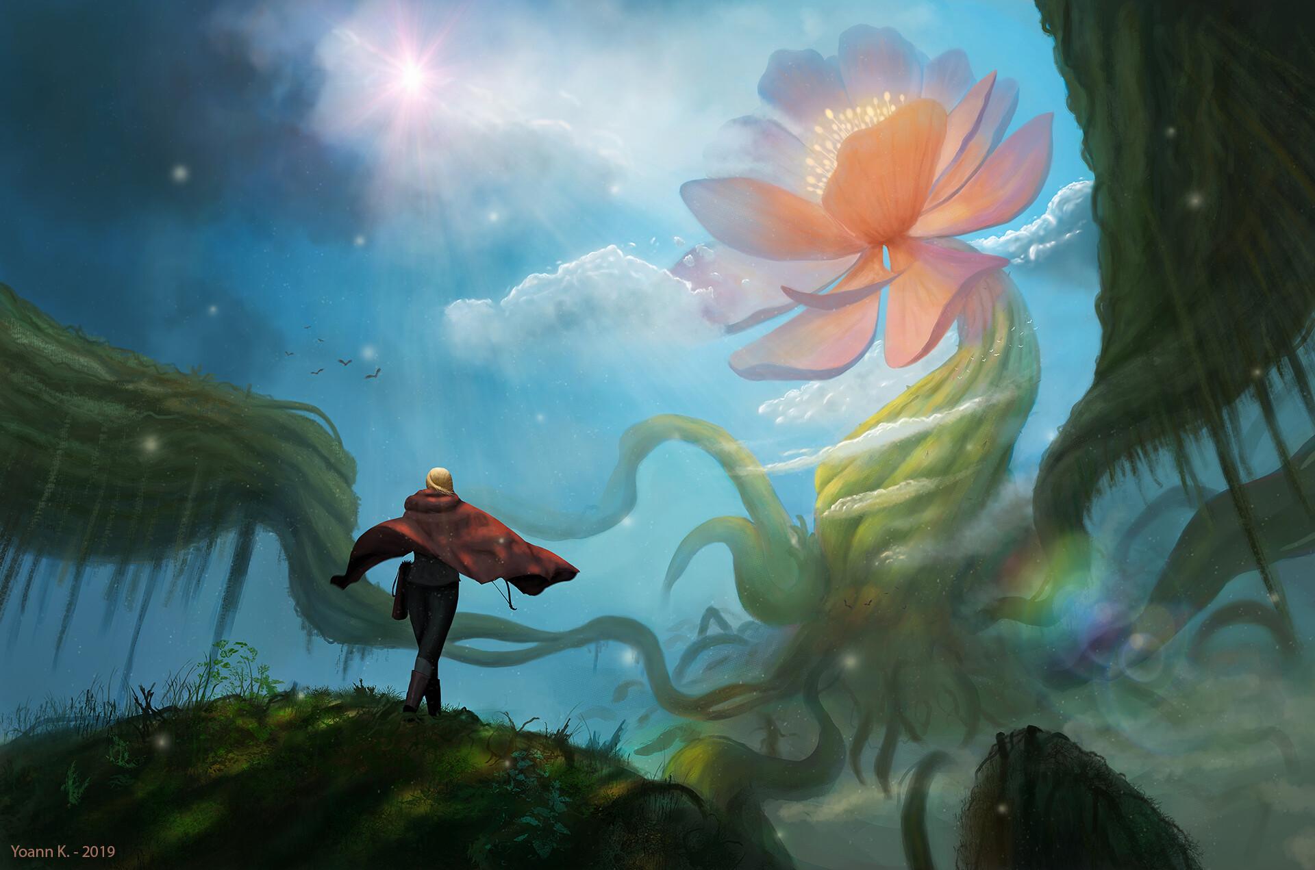 The Giant Flower - DigitalPainting.School by Yoann (oxhi) Keraven