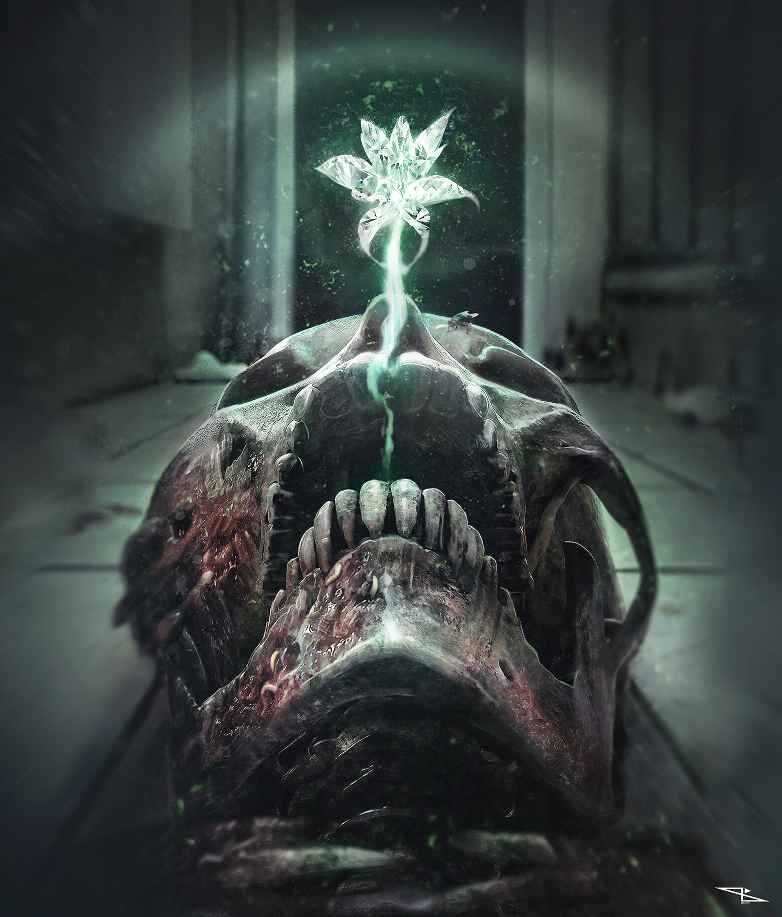 The Crystal Flower: horror book cover by Davide Ottoveggio